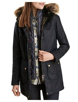 Dartford Faux Fur Trim Waxed Parka by Barbour