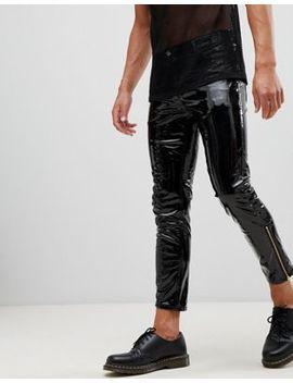 Asos Design – 'stefan' – Svarta Skinny Jeans I Vinyl Med Dragkedja Nedtill by Asos