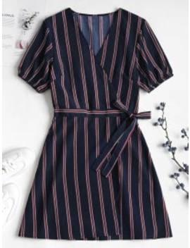 Striped Chiffon Wrap Dress   Deep Blue S by Zaful