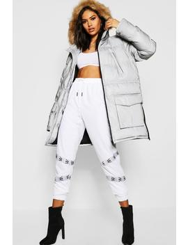 Reflective Parka With Faux Fur Trim by Boohoo