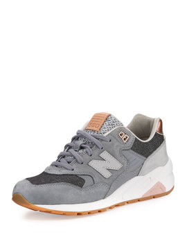 580 Suede Low Top Sneakers, Gray by Neiman Marcus