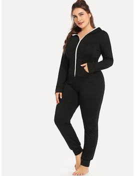 Plus Zipper Up Hooded Jumpsuit by Sheinside