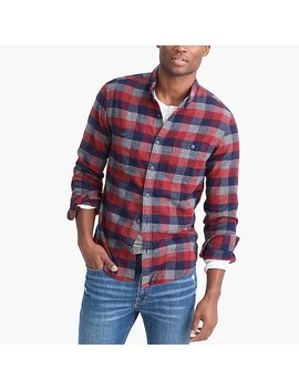 Slim Fit Heather Flannel Shirt In Multi Colored Buffalo Check by J.Crew