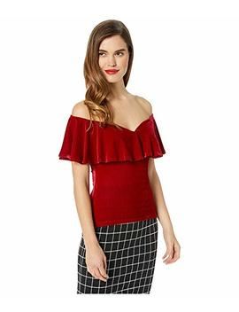 1950s Velvet Off The Shoulder Ruffle Frenchie Knit Top by Unique Vintage