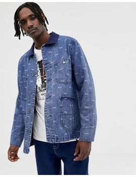 Huf Domestic Denim Jacket With All Over Logo Print by Huf