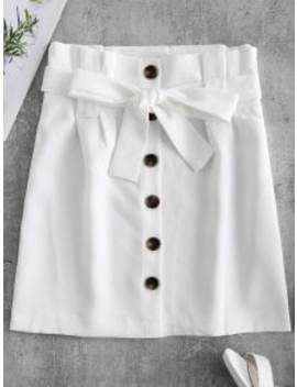 Button Front Belted Mini Skirt   White M by Zaful