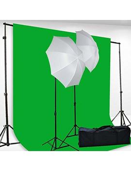 Chromakey Green Screen Kit Lighting Kit 400 Watt Video Lighting Kit By Fancierstudio   6x9 Feet Green Screen (H69 G) by Fancierstudio