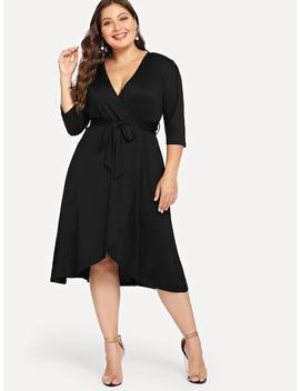 Plus Waist Belted Wrap V Neck Solid Dress by Shein