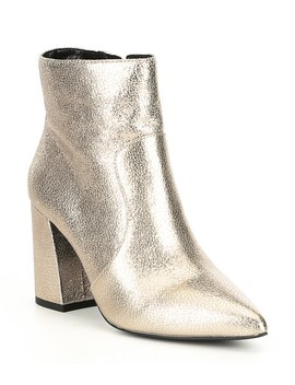 Vision Ary Pointy Toe Metallic Leather Block Heel Booties by Gb