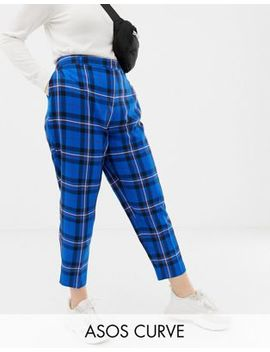 Asos Design Curve Ultimate Blue Check Ankle Grazer Trousers by Asos Design