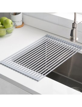Krm 10 Grey Kraus Silicone Coated Stainless Steel Over The Sink Multipurpose Roll Up Dish Rack & Reviews by Kraus