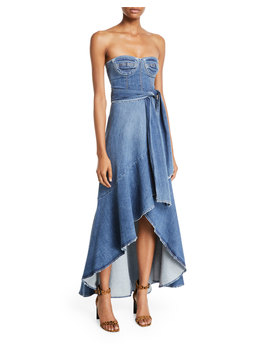Classic Denim Bustier Wrap Dress by Jonathan Simkhai