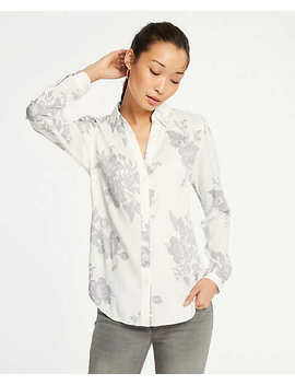 Petite Floral Essential Button Down Blouse by Ann Taylor