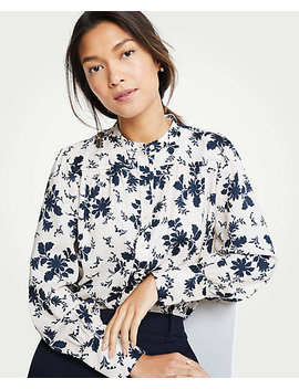 Petite Alpine Floral Shirred Button Down Blouse by Ann Taylor