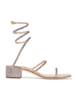 Cleo Crystal Embellished Satin Sandals by René Caovilla