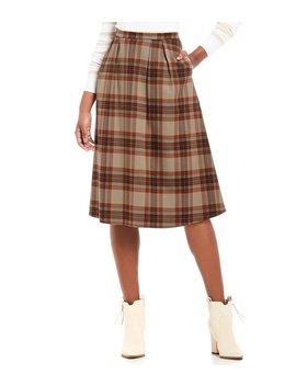 Inez Plaid A Line Menswear Midi Skirt by Cremieux