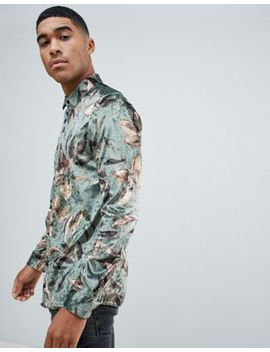 River Island Regular Fit Velvet Shirt With Floral Print In Green by River Island