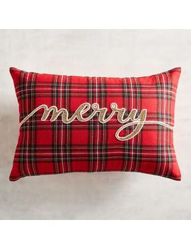 Beaded Merry Tartan Plaid Lumbar Pillow by Pier1 Imports