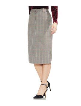 Menswear Plaid Midi Length Pencil Skirt by Vince Camuto