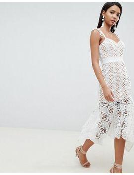 Ажурное платье миди телесного цвета Jarlo by Asos