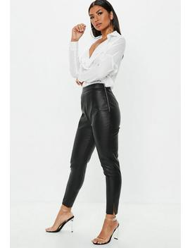 Tall Black Side Zip Faux Leather Pants by Missguided