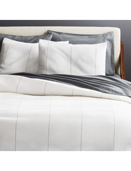 Picco Navy And White Full/Queen Duvet Cover by Crate&Barrel