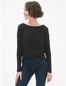 Softspun Mix Fabric Long Sleeve Top by Gap