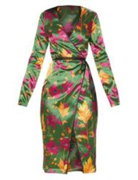 Green Floral Satin Binding Detail Wrap Midi Dress by Prettylittlething