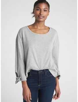 Long Tie Sleeve T Shirt In Slub Cotton by Gap