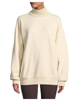 Smooth Terry Turtleneck Pullover Sweatshirt by Helmut Lang