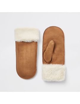 Brown Faux Fur Lined Shearling Mittens by River Island