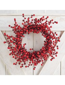 "20"" Glittered Red Berry Wreath by Pier1 Imports"