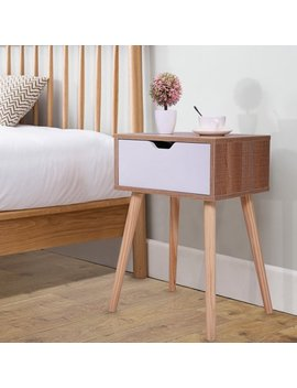 Mid Century Wooden Nightstand Side End Table With White Storage Drawer For Bedroom Living Room by Jaxpety