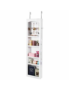 Songmics Small Bathroom Storage Cabinet, Door/Wall Mounted Save Floor Space, Adjustable Shelves White Ubbc74 Wt by Songmics