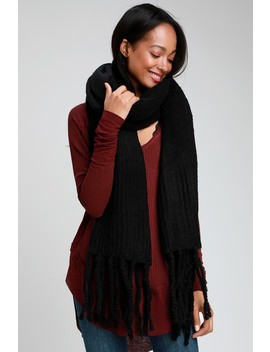 Jaden Black Ribbed Fringe Blanket Scarf by Free People