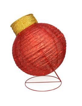Led Pre Lit Outdoor Red Glittered Ball Ornament by Pier1 Imports