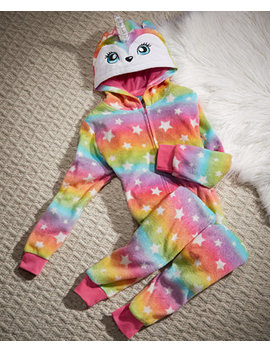 Big Girls Rainbow Unicorn Hooded One Piece, Created For Macy's by Max & Olivia