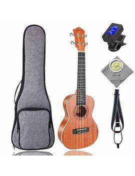 Concert Ukulele Ranch 23 Inch Professional Wooden Ukelele Instrument Kit With Free Online 12 Lessons Small Hawaiian Guitar Ukalalee Pack Bundle Gig Bag & Digital Tuner & Strap & 4 Aquila Strings Set by Ranch