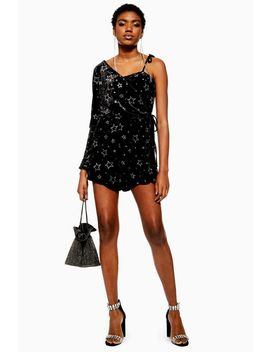 Petite Star Velvet One Shoulder Playsuit by Topshop