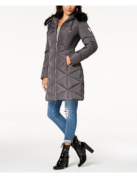 Faux Fur Trim Diamond Quilted Puffer Coat by Guess