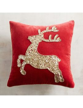 Soft Gold Sequined Deer Pillow by Pier1 Imports
