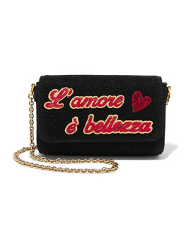 Leather Appliquéd Metallic Cotton Blend Shoulder Bag by Dolce & Gabbana Kids