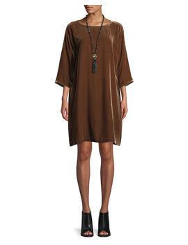 Short Velvet Shift Dress, Plus Size by Eileen Fisher