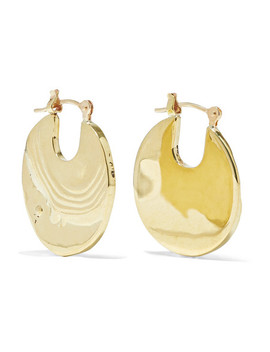 Small Paillette Gold Tone Hoop Earrings by Leigh Miller