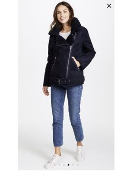 J.O.A. Faux Sherpa Shearling Aviator Revolve Navy Jacket Shopbop $163 by J.O.A.