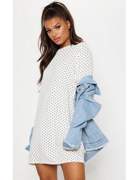 Burgundy Polka Dot Oversized T Shirt Dress by Prettylittlething