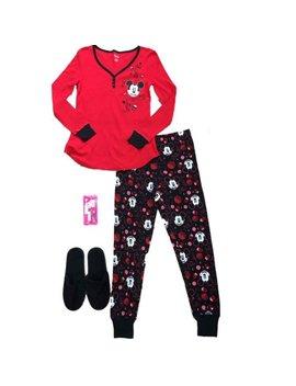 Junior Womens Disney Mickey Mouse Pajamas Thermal Floral Cristmas Sleep Set by Disney