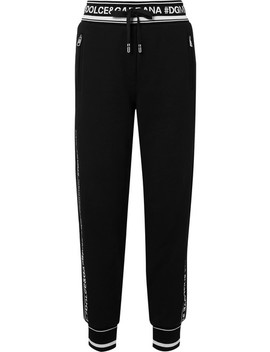 Intarsia Trimmed Cotton Jersey Track Pants by Dolce & Gabbana