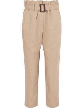 Belted Linen And Cotton Blend Tapered Pants by Brunello Cucinelli