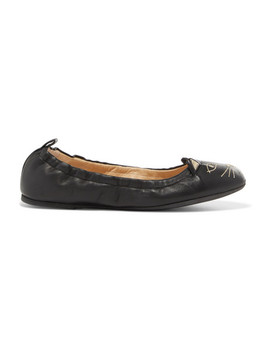 Kitty Embroidered Leather Ballet Flats by Charlotte Olympia